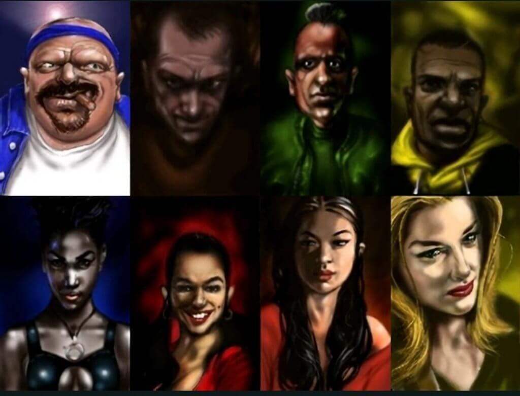 Une photo des 8 personnages principaux du premier jeu Grand Threft Auto 1997