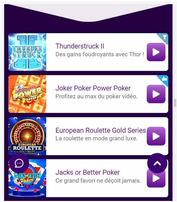 Application mobile du casino Jackpot City