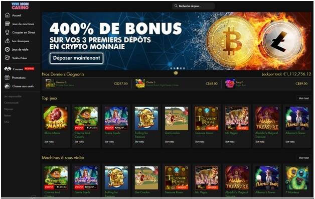 Bonus Bitcoin de dépôt de 400% sur Vive Mon Casino si vous déposez avec Bitcoins