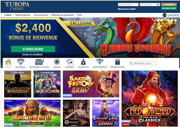 Casino Europa pour les parieurs français