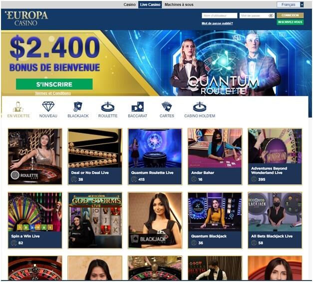 Casino en direct à Europa Casino