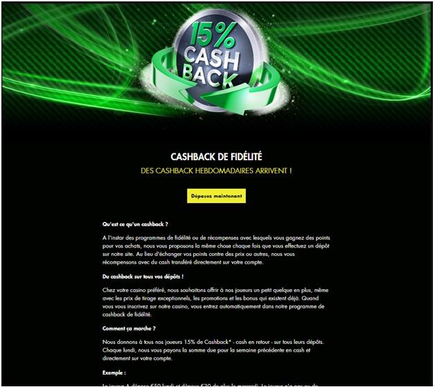 Des offres de bonus Cash Back sont disponibles pour les parieurs français dans les casinos en ligne