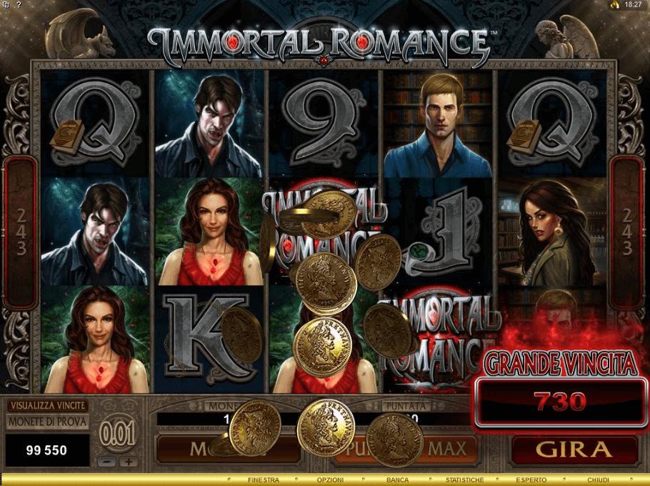 Immortal Romance slot Jackpot à gagner