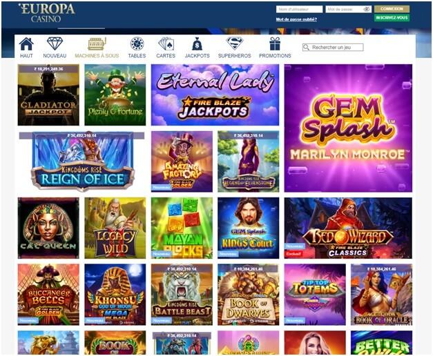Jeux à jouer sur Europa Casino