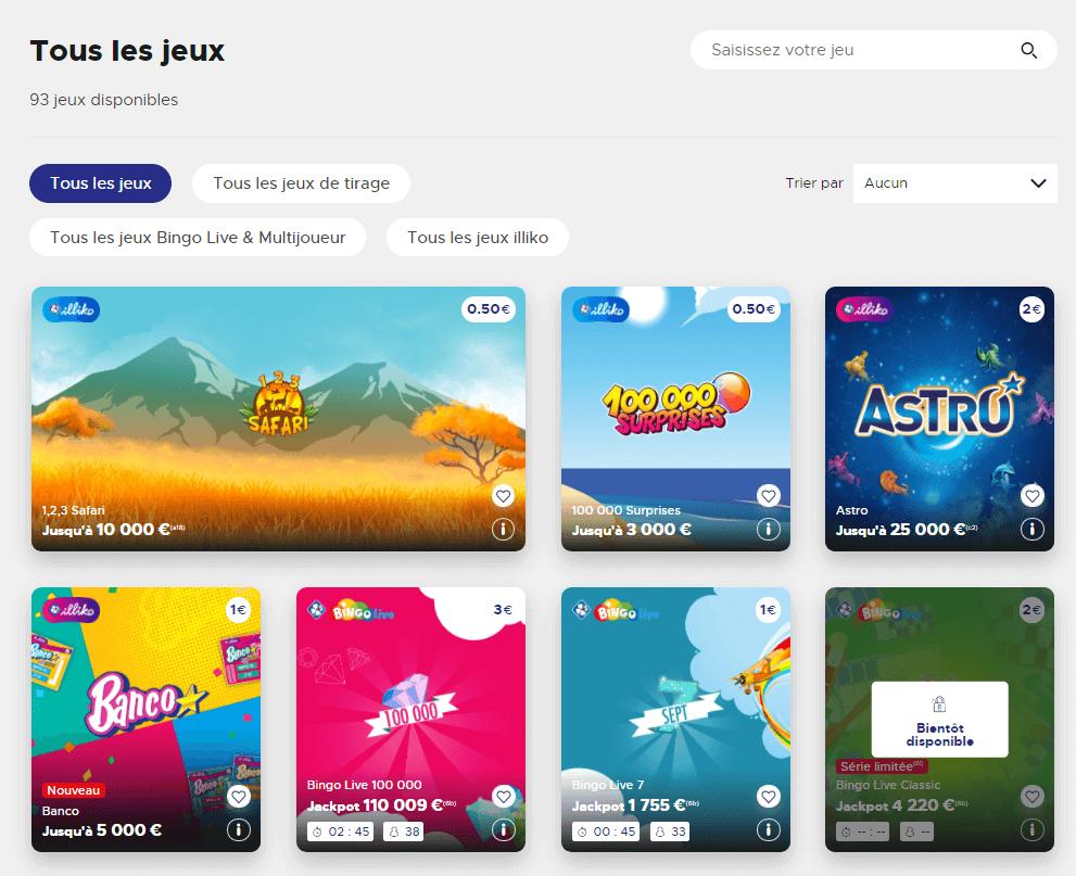 Il existe différents types de jeux auxquels vous pouvez jouer sur FDJ