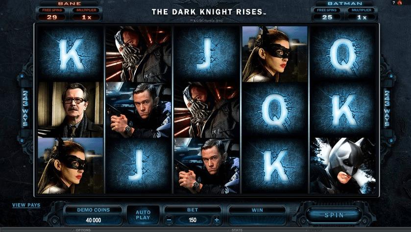 Les symboles du jeu de machines à sous Dark Knight