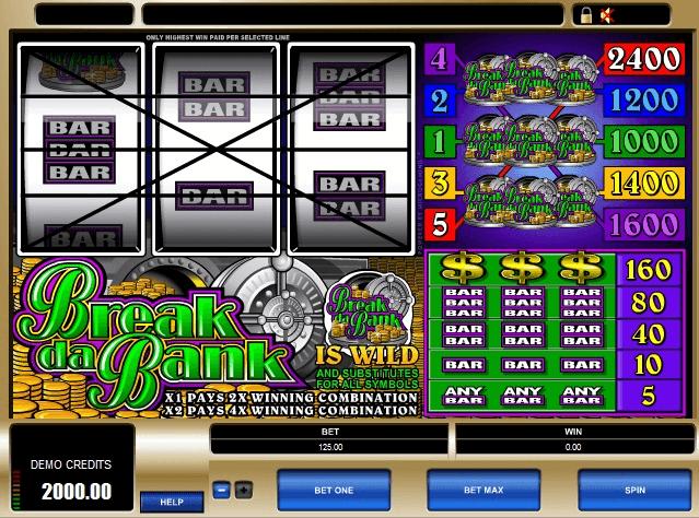 Machine à sous en ligne Break da bank