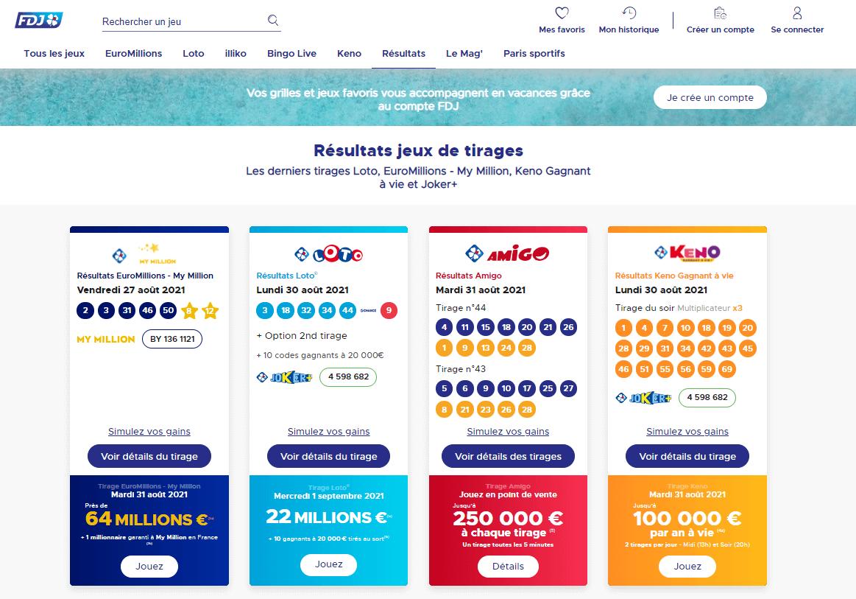 Résultats du loto à FDJ France