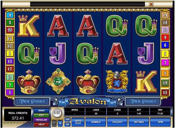 Symboles dans le jeu Avalon Slot