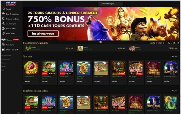 Vive Mon Casino offre 25 tours gratuits et un bonus
