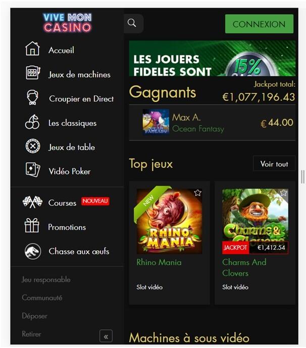 Vive mon Casino Casino en ligne français convivial pour jouer aux machines à sous et aux jeux de casino