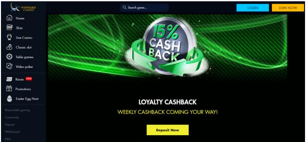 Winward and Rich Casino offre un bonus de cashback